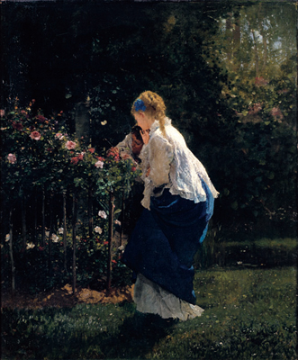 女性とバラの木.jpg